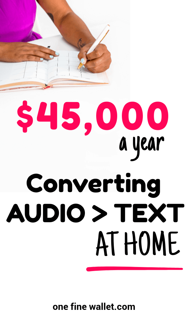 This online job can be quite rewarding for those looking to make a full time income from home. Earn upto $45k a year as transcribing audio files working from home. Side hustles ideas. #workfromhome #makemoneyonline #makemoney #sidehustles