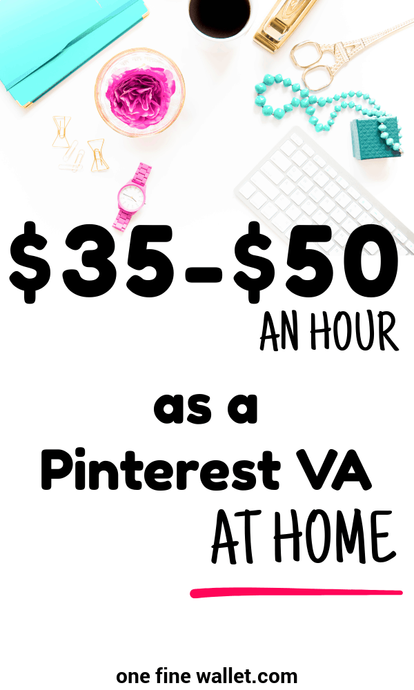 Make money from home as a Pinterest virtual assistant and make upto $50 an hour. This work at home side hustle is fully flexible for stay at home moms looking for online work!
