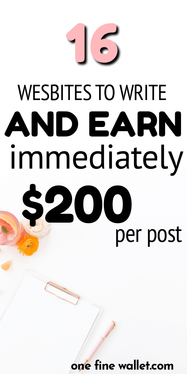 Here are 16 high paying websites that for you to get paid to write immediately when you need to make money right now.
